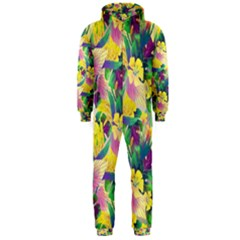Tropical Flowers And Leaves Background Hooded Jumpsuit (Men)