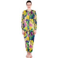 Tropical Flowers And Leaves Background OnePiece Jumpsuit (Ladies)