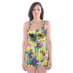 Tropical Flowers And Leaves Background Skater Dress Swimsuit