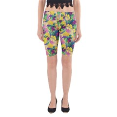 Tropical Flowers And Leaves Background Yoga Cropped Leggings