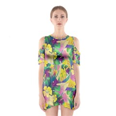 Tropical Flowers And Leaves Background Cutout Shoulder Dress