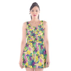 Tropical Flowers And Leaves Background Scoop Neck Skater Dress