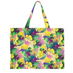 Tropical Flowers And Leaves Background Large Tote Bag