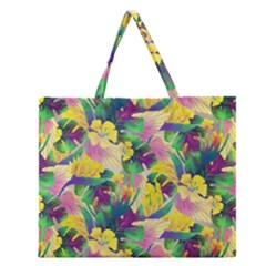 Tropical Flowers And Leaves Background Zipper Large Tote Bag