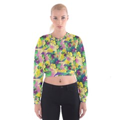 Tropical Flowers And Leaves Background Women s Cropped Sweatshirt