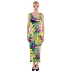 Tropical Flowers And Leaves Background Fitted Maxi Dress