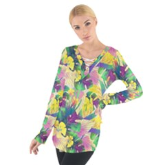 Tropical Flowers And Leaves Background Women s Tie Up Tee