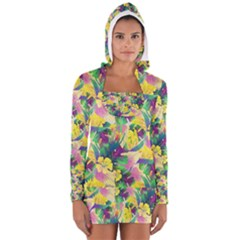 Tropical Flowers And Leaves Background Women s Long Sleeve Hooded T-shirt