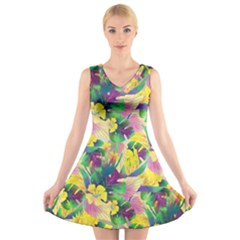 Tropical Flowers And Leaves Background V Neck Sleeveless Skater Dress