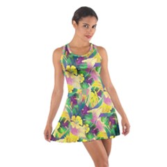 Tropical Flowers And Leaves Background Racerback Dresses