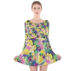 Tropical Flowers And Leaves Background Long Sleeve Velvet Skater Dress