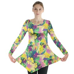 Tropical Flowers And Leaves Background Long Sleeve Tunic