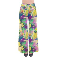Tropical Flowers And Leaves Background Pants