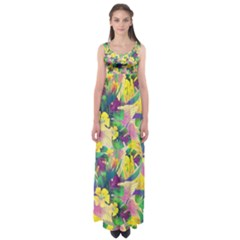 Tropical Flowers And Leaves Background Empire Waist Maxi Dress