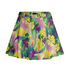 Tropical Flowers And Leaves Background Mini Flare Skirt