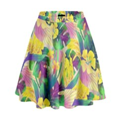 Tropical Flowers And Leaves Background High Waist Skirt