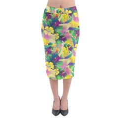 Tropical Flowers And Leaves Background Midi Pencil Skirt