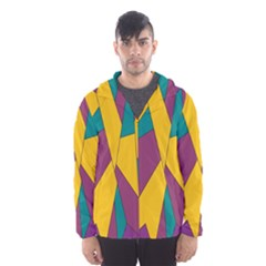 Bursting Star Poppy Yellow Violet Teal Purple Hooded Wind Breaker (Men)