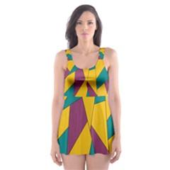 Bursting Star Poppy Yellow Violet Teal Purple Skater Dress Swimsuit