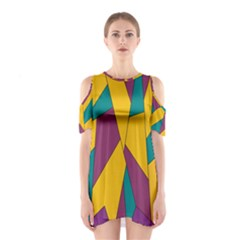 Bursting Star Poppy Yellow Violet Teal Purple Cutout Shoulder Dress