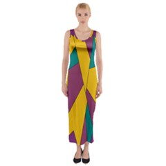 Bursting Star Poppy Yellow Violet Teal Purple Fitted Maxi Dress