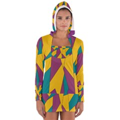 Bursting Star Poppy Yellow Violet Teal Purple Women s Long Sleeve Hooded T-shirt