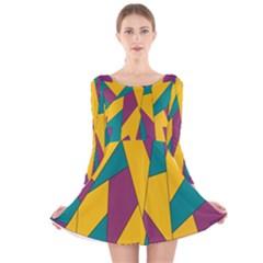 Bursting Star Poppy Yellow Violet Teal Purple Long Sleeve Velvet Skater Dress
