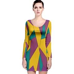 Bursting Star Poppy Yellow Violet Teal Purple Long Sleeve Velvet Bodycon Dress