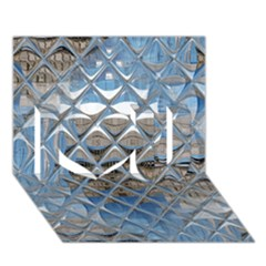 Mirrored Glass Tile Urban Industrial I Love You 3D Greeting Card (7x5)