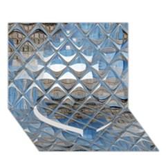 Mirrored Glass Tile Urban Industrial Heart Bottom 3D Greeting Card (7x5)
