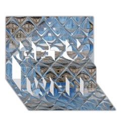 Mirrored Glass Tile Urban Industrial Get Well 3D Greeting Card (7x5)