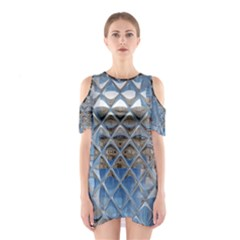 Mirrored Glass Tile Urban Industrial Cutout Shoulder Dress