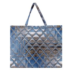 Mirrored Glass Tile Urban Industrial Zipper Large Tote Bag