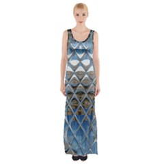 Mirrored Glass Tile Urban Industrial Maxi Thigh Split Dress