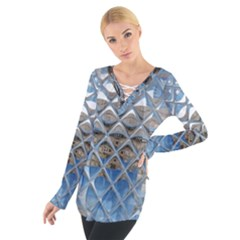 Mirrored Glass Tile Urban Industrial Women s Tie Up Tee