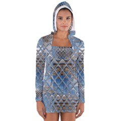 Mirrored Glass Tile Urban Industrial Women s Long Sleeve Hooded T-shirt