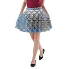 Mirrored Glass Tile Urban Industrial A Line Pocket Skirt