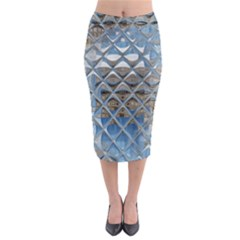 Mirrored Glass Tile Urban Industrial Midi Pencil Skirt