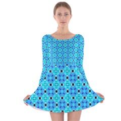 Vibrant Modern Abstract Lattice Aqua Blue Quilt Long Sleeve Velvet Skater Dress