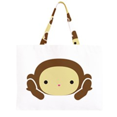 Three Wise Monkeys Zipper Large Tote Bag