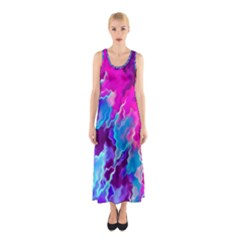 Stormy Pink Purple Teal Artwork Sleeveless Maxi Dress