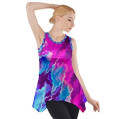 Stormy Pink Purple Teal Artwork Side Drop Tank Tunic