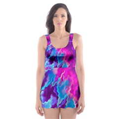 Stormy Pink Purple Teal Artwork Skater Dress Swimsuit
