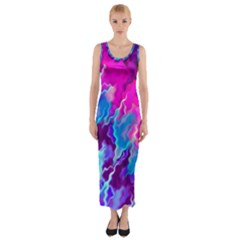 Stormy Pink Purple Teal Artwork Fitted Maxi Dress