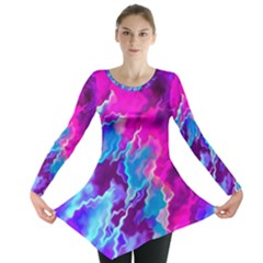 Stormy Pink Purple Teal Artwork Long Sleeve Tunic
