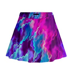 Stormy Pink Purple Teal Artwork Mini Flare Skirt