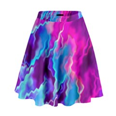 Stormy Pink Purple Teal Artwork High Waist Skirt