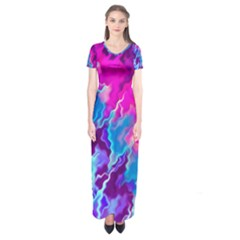 Stormy Pink Purple Teal Artwork Short Sleeve Maxi Dress