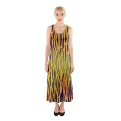 Colored Tiger Texture Background Sleeveless Maxi Dress