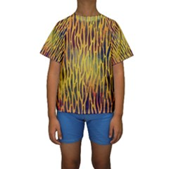 Colored Tiger Texture Background Kid s Short Sleeve Swimwear